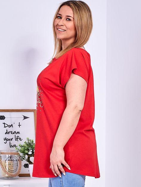 T-shirt czerwony z truskawką PLUS SIZE                                  zdj.                                  5