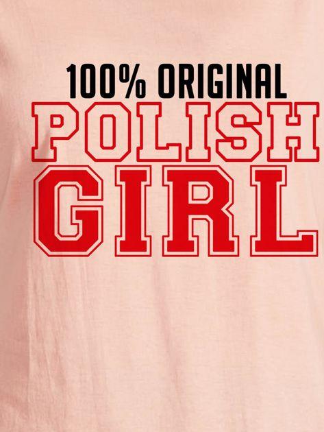 T-shirt damski patriotyczny 100% ORIGINAL POLISH GIRL łososiowy                                  zdj.                                  2