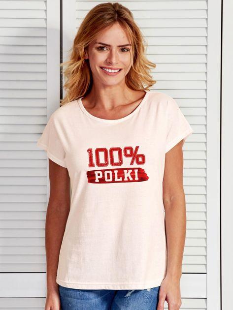 T-shirt damski patriotyczny 100% POLKI ecru                                  zdj.                                  1