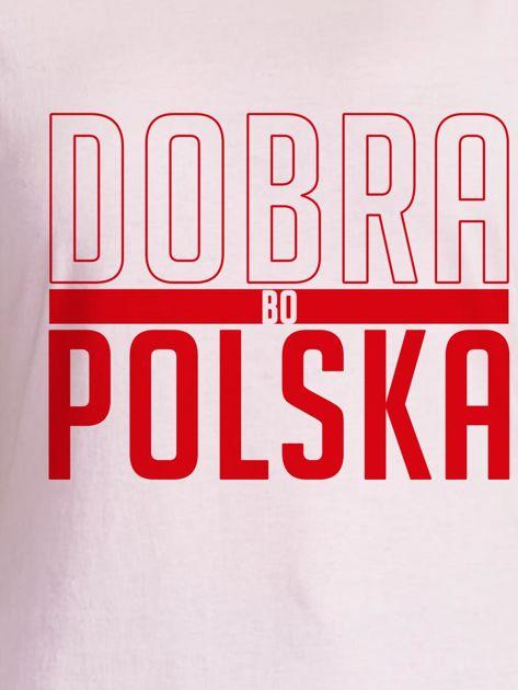 T-shirt damski patriotyczny DOBRA BO POLSKA jasnoróżowy                              zdj.                              2