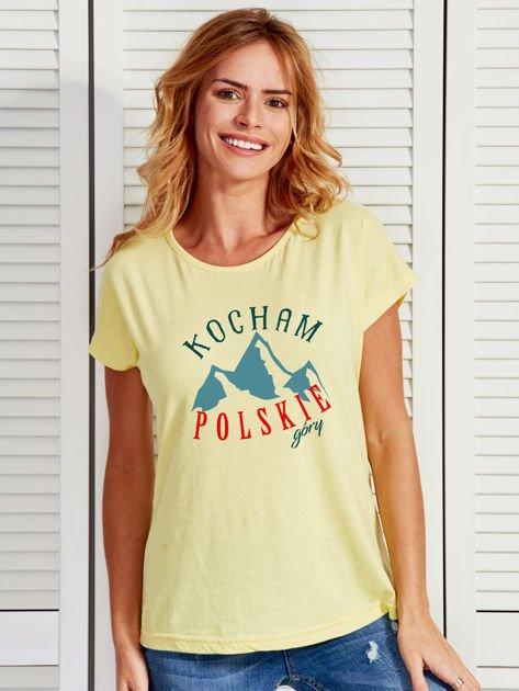 T-shirt damski patriotyczny KOCHAM POLSKIE GÓRY żółty                              zdj.                              1