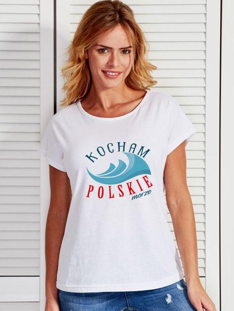 T-shirt damski patriotyczny KOCHAM POLSKIE MORZE biały                              zdj.                              1