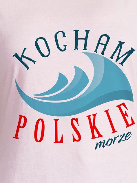 T-shirt damski patriotyczny KOCHAM POLSKIE MORZE jasnoróżowy                              zdj.                              2