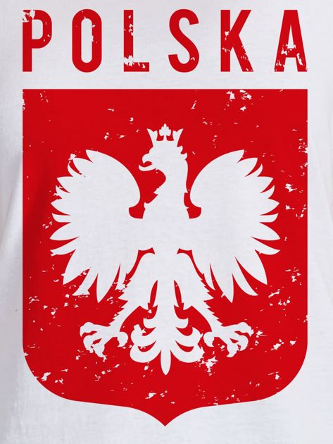 T-shirt damski patriotyczny POLSKA z Orłem Białym biały                              zdj.                              2