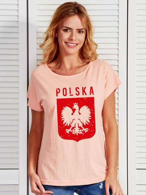 T-shirt damski patriotyczny POLSKA z Orłem Białym łososiowy                                  zdj.                                  1