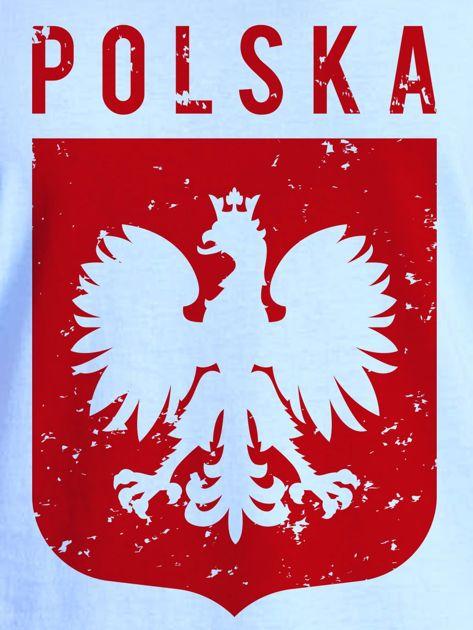 T-shirt damski patriotyczny POLSKA z Orłem Białym niebieski                              zdj.                              2