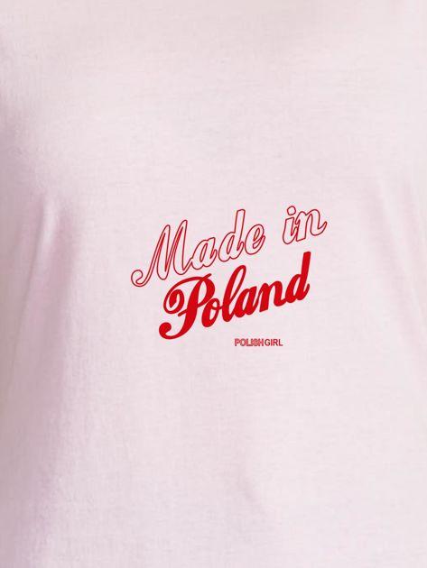 T-shirt damski patriotyczny z delikatnym nadrukiem jasnoróżowy                              zdj.                              2