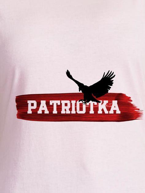 T-shirt damski patriotyczny z orłem PATRIOTKA jasnoróżowy                              zdj.                              2