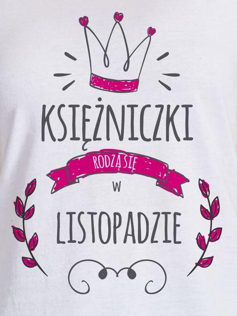 T-shirt damski z nadrukiem KSIĘŻNICZKA biały                              zdj.                              2