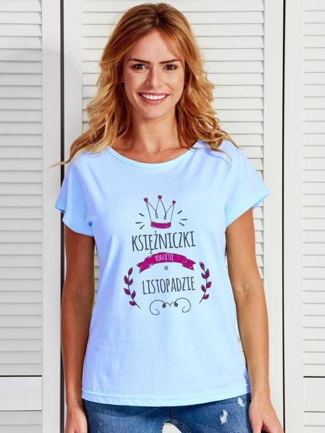 T-shirt damski z nadrukiem KSIĘŻNICZKA niebieski                                  zdj.                                  1