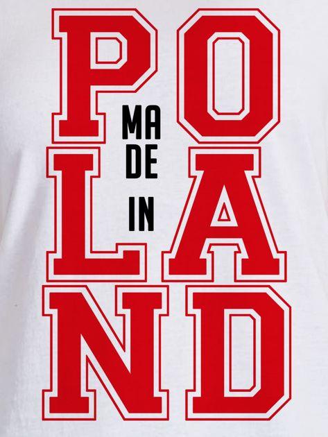 T-shirt damski z nadrukiem MADE IN POLAND biały                              zdj.                              2