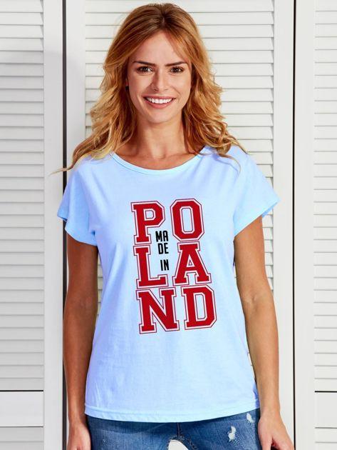 T-shirt damski z nadrukiem MADE IN POLAND niebieski                                  zdj.                                  1