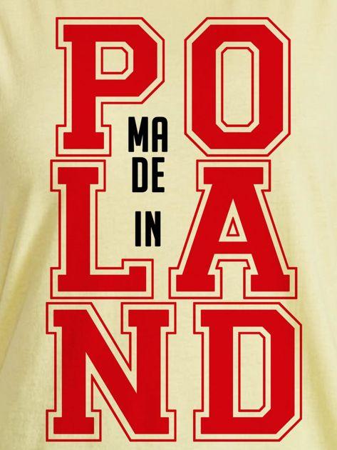T-shirt damski z nadrukiem MADE IN POLAND żółty                              zdj.                              2