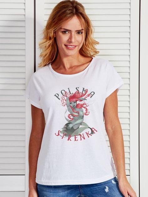 T-shirt damski z nadrukiem Warszawskiej Syrenki biały                              zdj.                              1