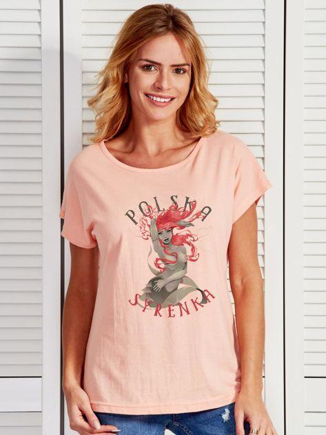 T-shirt damski z nadrukiem Warszawskiej Syrenki łososiowy                                  zdj.                                  1