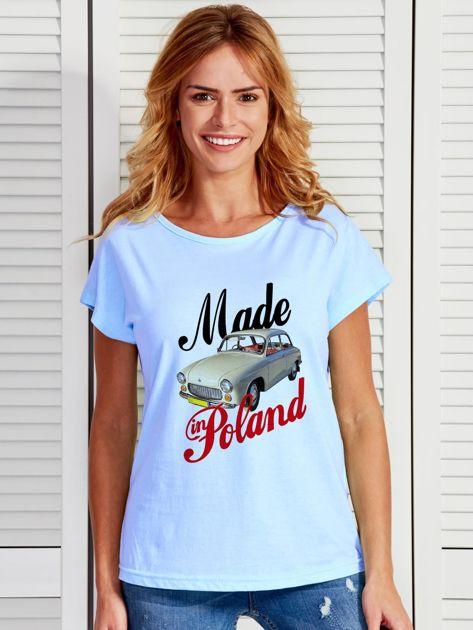 T-shirt damski z nadrukiem samochodu Syrenki niebieski                              zdj.                              1