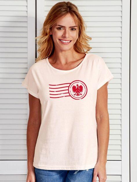 T-shirt damski z patriotycznym nadrukiem ecru                              zdj.                              1