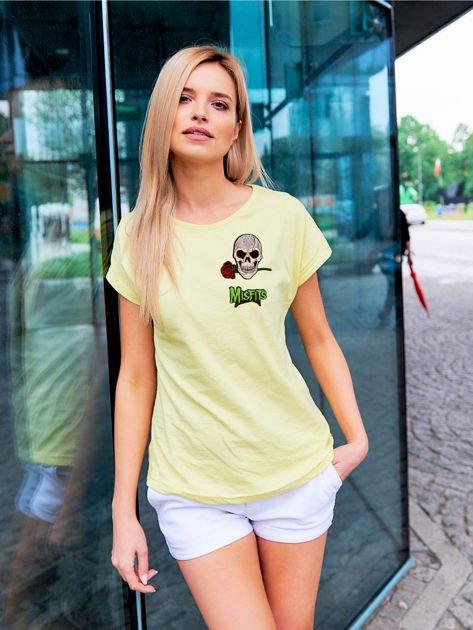 T-shirt damski żółty z naszywkami MISFITS                              zdj.                              1