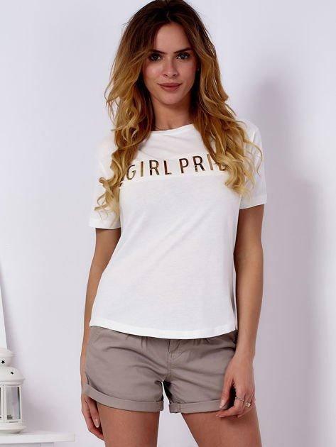 T-shirt ecru GIRL PRIDE                               zdj.                              1