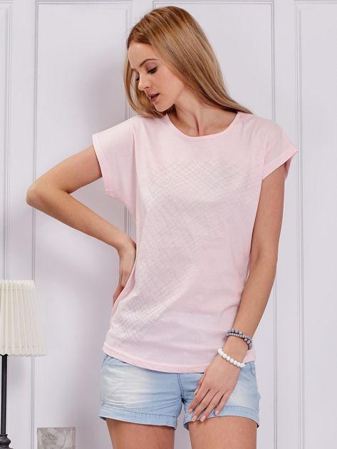T-shirt jasnoróżowy z printem