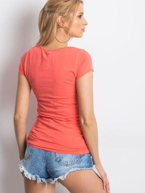 T-shirt koralowy cut out                              zdj.                              2