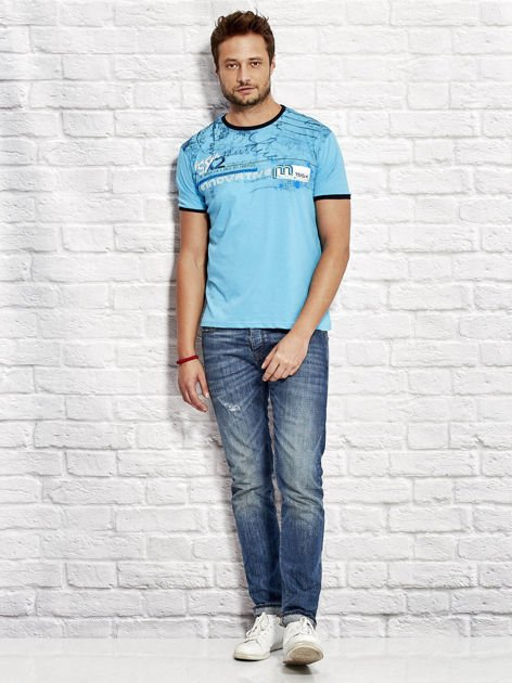 T-shirt męski z tekstowym nadrukiem jasnoniebieski                                  zdj.                                  4