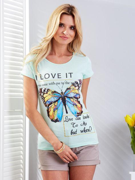 T-shirt miętowy z motylem                                  zdj.                                  1