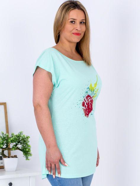 T-shirt miętowy z truskawką PLUS SIZE                                  zdj.                                  5