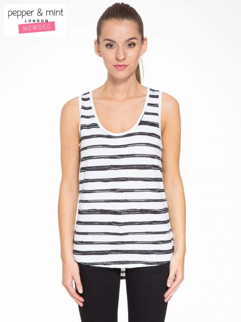 T-shirt na szerokich ramiączkach w biało-czarne paski                                  zdj.                                  1