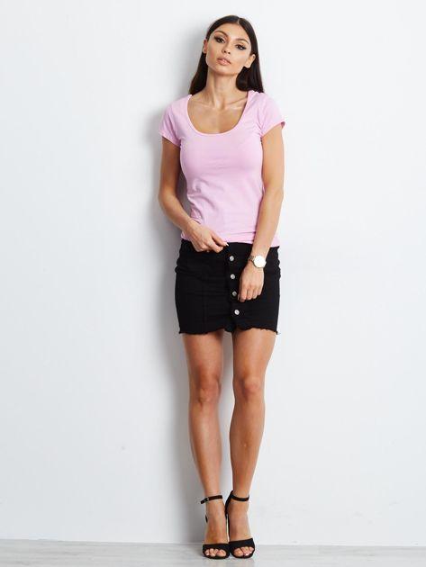 T-shirt różowy z wycięciami z tyłu                              zdj.                              4