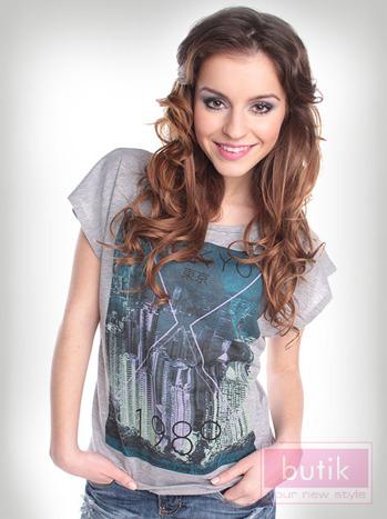 T-shirt szary Oversize                                  zdj.                                  2