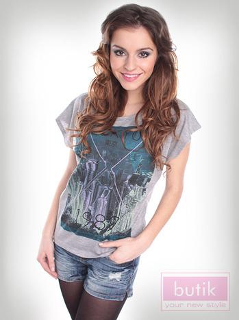 T-shirt szary Oversize                                  zdj.                                  3
