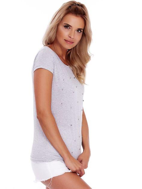 T-shirt szary z perełkami                              zdj.                              3