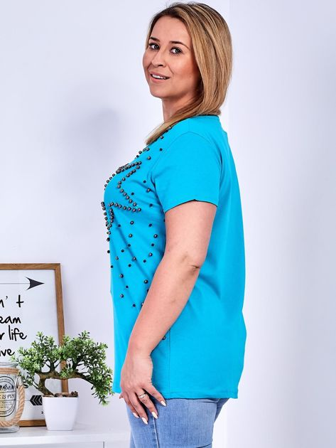 T-shirt turkusowy z gwiazdą z perełek PLUS SIZE                              zdj.                              5
