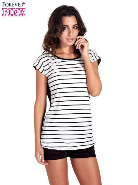 T-shirt w biało-czarne paski z koronką z tyłu