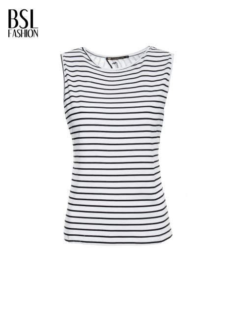 T-shirt w biało-czarne paski z odkrytym tyłem                                  zdj.                                  2