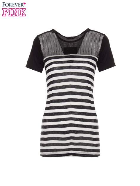 T-shirt w biało-czarne paski z siateczkową górą                                  zdj.                                  2