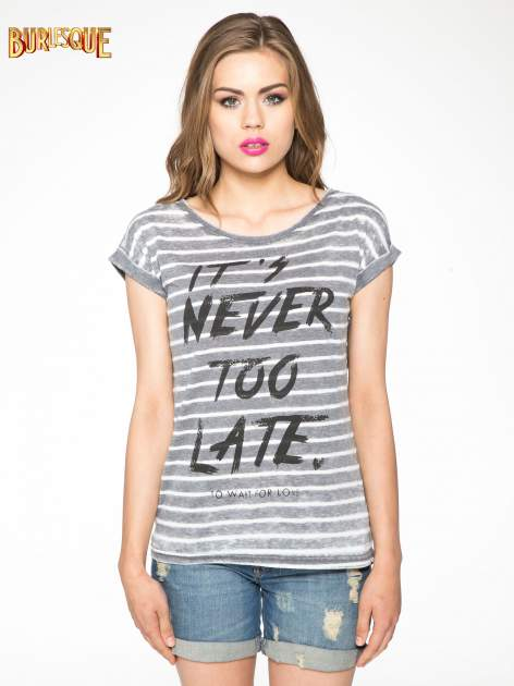 T-shirt w paski z napisem IT'S NEVER TOO LATE                                   zdj.                                  10