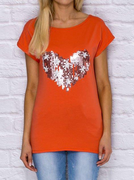 T-shirt z cekinowym sercem i kwiatkami pomarańczowy                              zdj.                              1