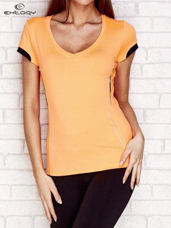 T-shirt z modelującymi przeszyciami pomarańczowy