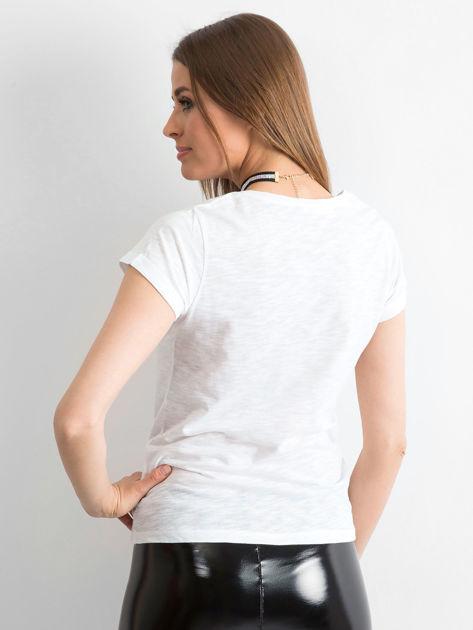 T-shirt z naszywkami biały                              zdj.                              2