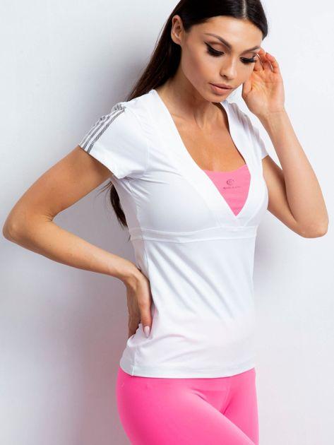 T-shirt z wycięciem na plecach biało-różowy