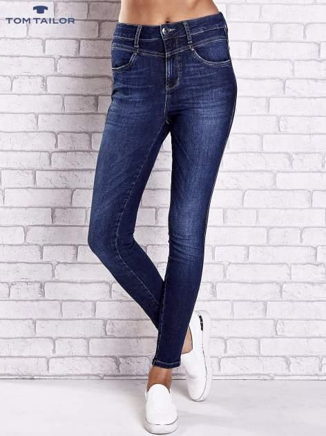 TOM TAILOR Ciemnoniebieskie przecierane spodnie jeansowe