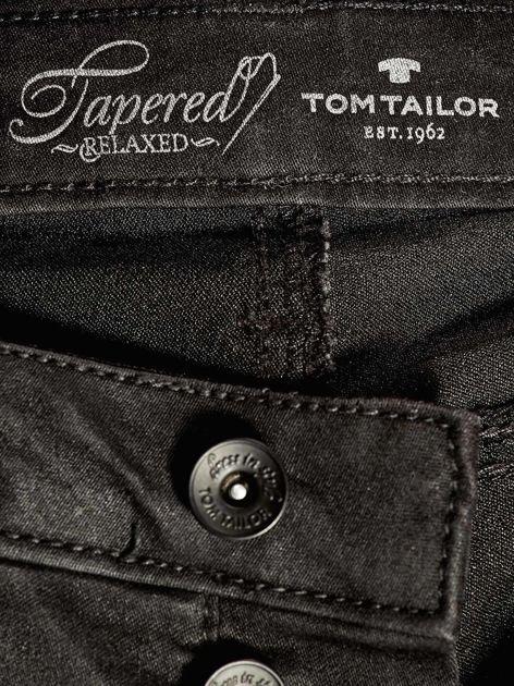 TOM TAILOR Czarne spodnie regular z przeszyciami                                  zdj.                                  4