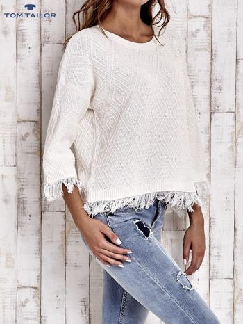 TOM TAILOR Ecru sweter z graficznym wzorem i frędzlami                                  zdj.                                  3