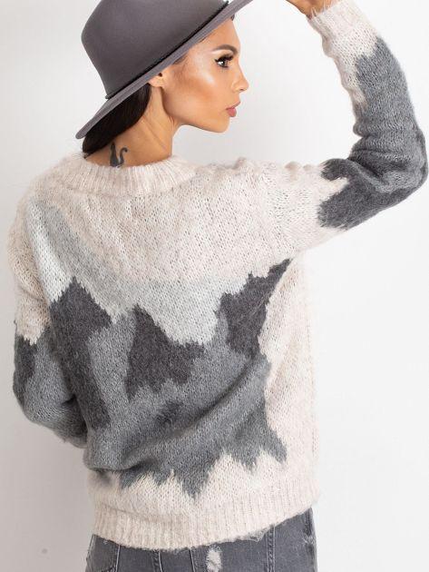 TOM TAILOR Kremowy wełniany sweter z abstrakcyjnym deseniem                                  zdj.                                  6