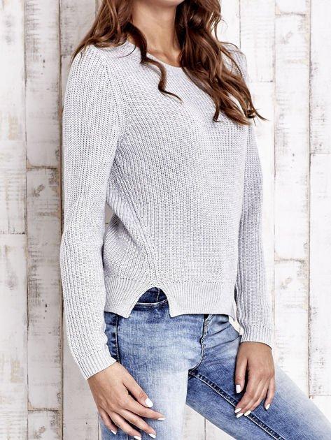 TOM TAILOR Szary sweter z rozcięciami                                  zdj.                                  3