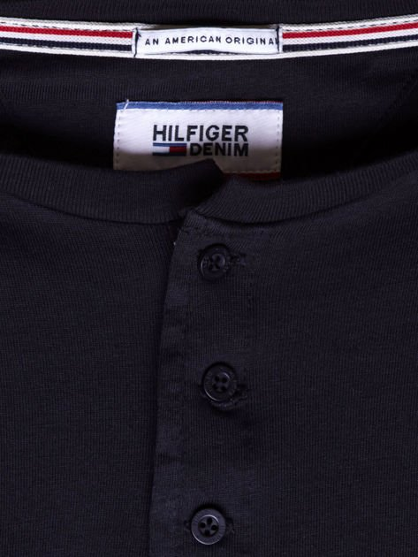 TOMMY HILFIGER Czarna bluzka męska z guzikami                               zdj.                              6