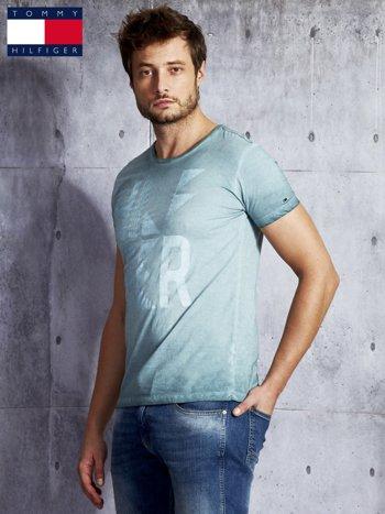 TOMMY HILFIGER Zielony dekatyzowany t-shirt męski                              zdj.                              5