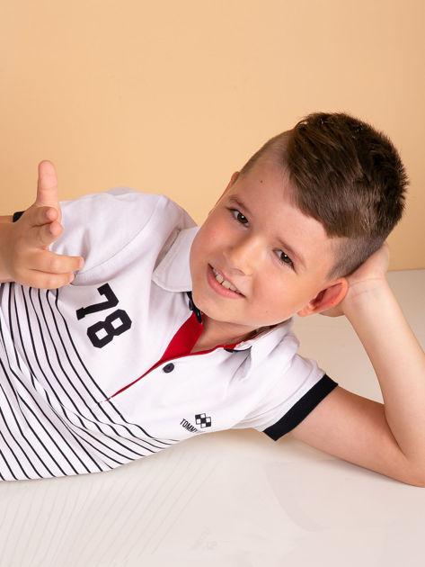 TOMMY LIFE Biała chłopięca koszulka polo